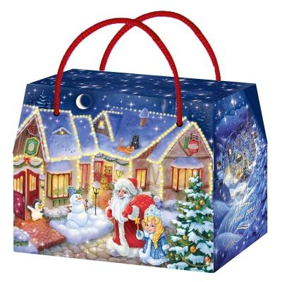 Новогодняя упаковка «Городок» 800 гр, картонная подарочная коробка для конфет