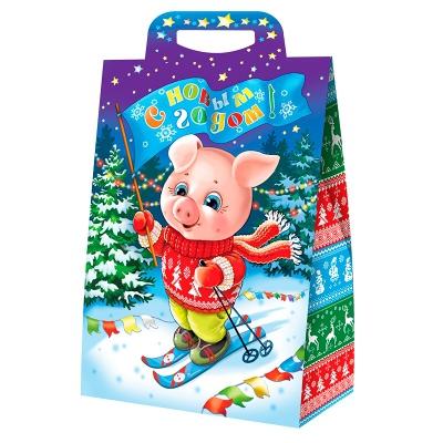 Новогодняя упаковка «Символ» 2000 гр, картонная подарочная коробка | Символ нового 2019 года свиньи