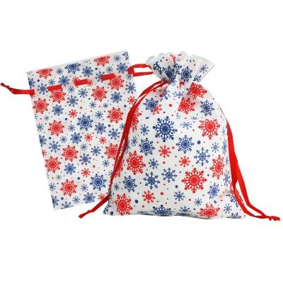 Подарочный мешок «Снежинки» синие 1300 гр, текстильная новогодняя упаковка для подарков, конфет