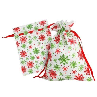 Подарочный мешок «Снежинки» зеленые 1300 гр, текстильная новогодняя упаковка для подарков, конфет