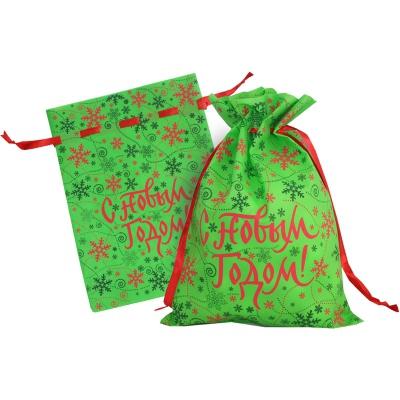 Новогодний подарочный мешок «Цветная метель» 1300 гр, текстильная новогодняя упаковка для подарков