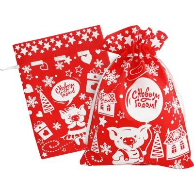Новогодний подарочный мешок «Свинка» красный 1300 гр, текстильная новогодняя упаковка 2019 год свиньи