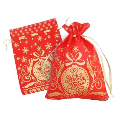 Подарочный мешок «Золотой» красный 1300 гр, текстильная новогодняя упаковка для подарков, конфет