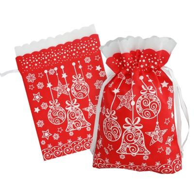 Подарочный мешок «Шарики» красный с белой каймой 1100 гр, текстильная новогодняя упаковка для подарков, конфет