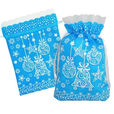 Подарочный мешок «Шарики» синий с белой каймой 1100 гр, текстильная новогодняя упаковка для подарков, конфет