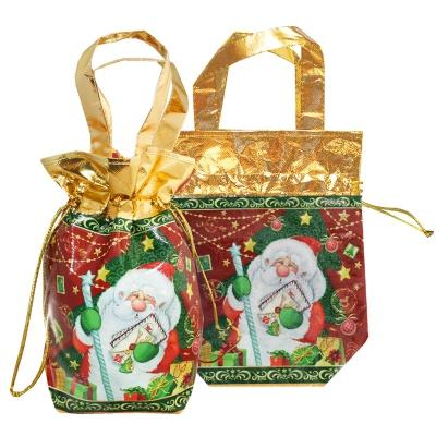 """Подарочная сумка-мешок с двумя ручками """"Ретро"""" 1300 гр, текстильная новогодняя упаковка для подарков, конфет"""