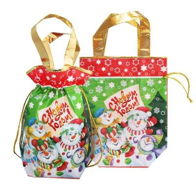 """Подарочная сумка-мешок с двумя ручками """"Снеговики"""" 1300 гр, текстильная новогодняя упаковка для подарков, конфет"""