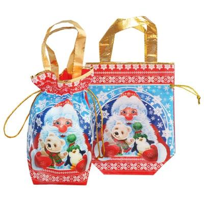 """Новогодняя подарочная сумочка с двумя ручками """"Трио"""" 1300 гр, текстильная упаковка, мешок для подарков"""