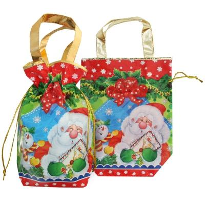 """Новогодняя подарочная сумочка с двумя ручками """"Бант"""" 1600 гр, текстильная упаковка, мешок для подарков"""