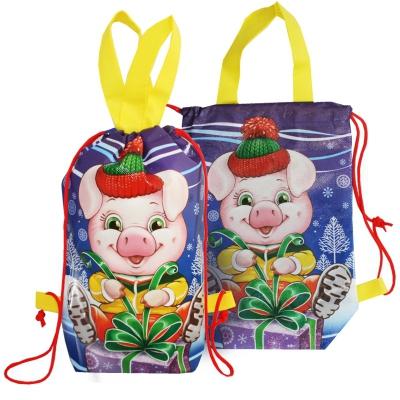 """Детский рюкзачок """"Символ"""" для подарков 1100 гр   текстильная новогодняя упаковка 2019 год свиньи"""