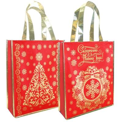 Подарочная сумка с петлевой ручкой «Сказочный НГ» 1500 гр, текстильная новогодняя упаковка для подарков