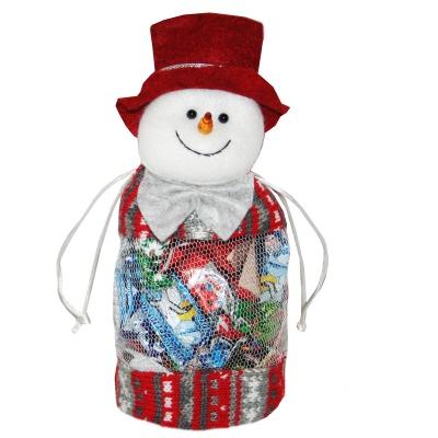 """Подарочный мешок-сетка """"Снеговик"""" 300 гр, новогодняя упаковка для конфет"""