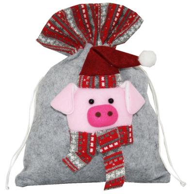 """Новогодний подарочный мешок """"Символ"""" 1700 гр, текстильная новогодняя упаковка 2019 год свиньи"""
