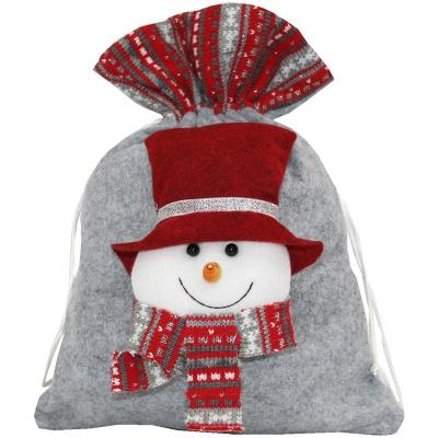 """Подарочный мешок """"Снеговик"""" 1700 гр, текстильная новогодняя упаковка"""