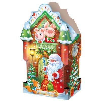 """Новогодняя упаковка """"Хрюшкин дом"""" 2500 гр, картонная подарочная коробка для конфет"""