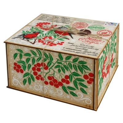 Посылка от Деда Мороза, 2000 гр, деревянная новогодняя упаковка из фанеры