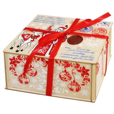 Посылка от Деда Мороза, 1000 гр, новогодняя упаковка из фанеры