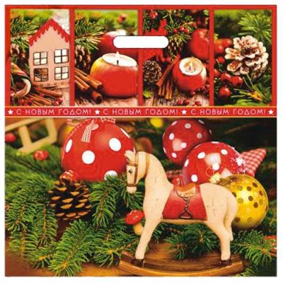 Пакет новогодний Канун рождества 44х44, 70 мкм