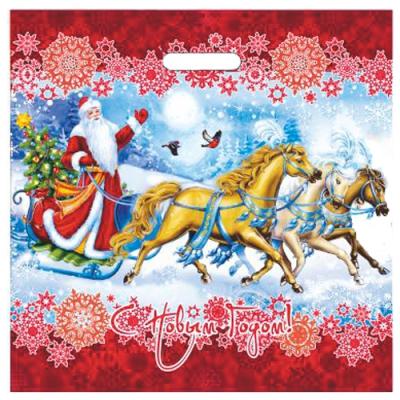 Пакет новогодний Зимняя забава, 44х44 см, 70 мкм