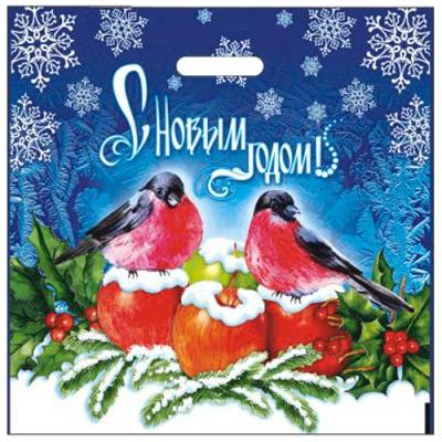 """Подарочный новогодний пакет """"Яблоки на снегу"""" 44х44, 70 мкм, вырубные ручки, новогодняя упаковка"""