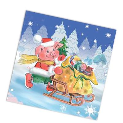 """Новогодние бумажные салфетки двухслойные 33x33, """"Подарки в пути"""", 20шт."""