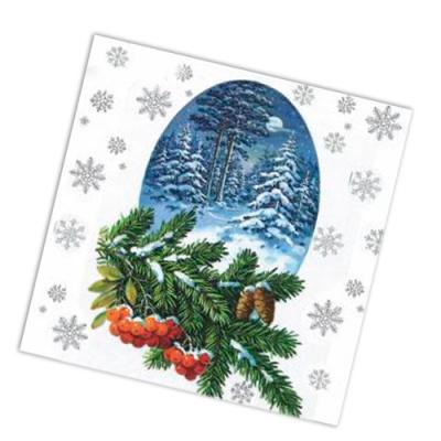 "Салфетки бумажные 2сл., 33x33, ""Зимний лес"", 20шт."
