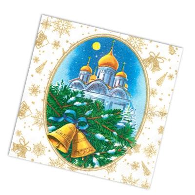 """Салфетки бумажные 2сл., 33x33, """"Рождественская ночь"""", 20шт."""