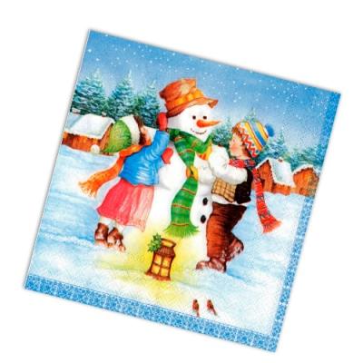 """Салфетки бумажные 2сл., 33x33, """"Дети и снеговик"""", 20шт."""