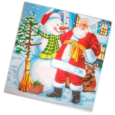 """Салфетки бумажные 2сл., 33x33, """"Дед Мороз и снеговик"""", 20шт."""