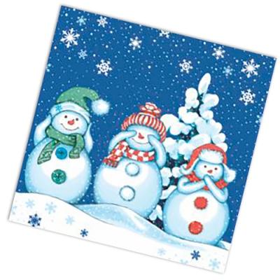 """Салфетки бумажные 2сл., 33x33, """"Мудрые снеговики"""", 20шт."""