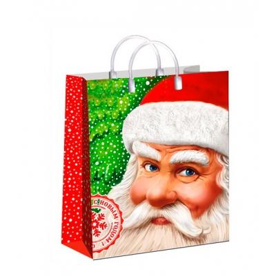 """Новогодний подарочный пакет """"Мороз Красный нос"""", 23х27 cм, 150 мкм, мягкий пластик, новогодняя упаковка"""
