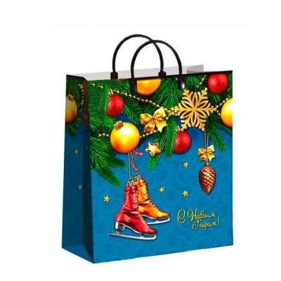 Новогодний подарочный пакет Коньки, 230х270 мм, 150 мкм, новогодняя упаковка