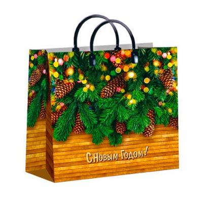 """Новогодний подарочный пакет """"Еловые лапки"""", 30х30 см, 150 мкм, новогодняя упаковка"""