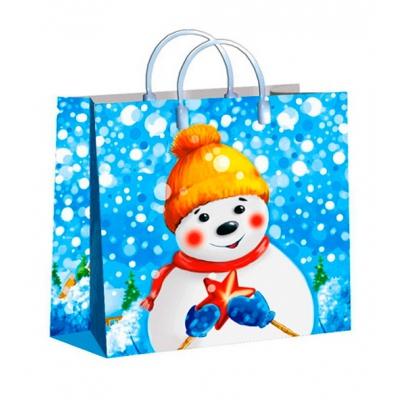 """Новогодний подарочный пакет """"Снежный друг"""", 30х30 см, 150 мкм, мягкий пластик, новогодняя упаковка"""