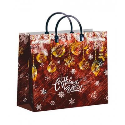 """Новогодний подарочный пакет """"Бархат"""" 30х30 см, 150 мкм, мягкий пластик, новогодняя упаковка"""