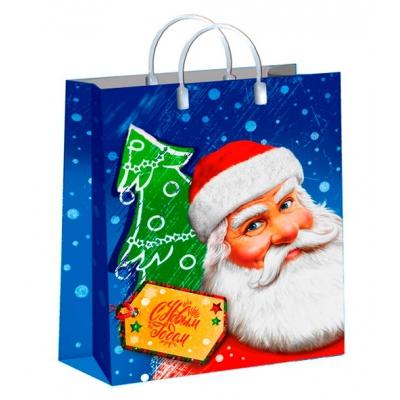 """Новогодний подарочный пакет """"Дед Мороз с усами"""", 300х400 мм, 150 мкм, новогодняя упаковка"""