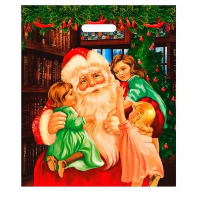 """Пакет новогодний """"Обнимашки"""" 40х47 см, 45 мкм, полиэтиленовый с вырубными ручками"""