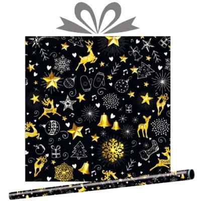 """Бумага оберточная новогодняя """"Звездный вальс"""" для упаковки подарков"""