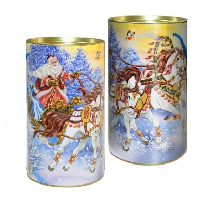 Подарочные картонные тубы «С ветерком» 1000 гр, новогодняя упаковка