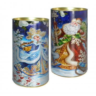 Подарочные картонные тубы «Дед Мороз и Снегурочка» 1000 гр, новогодняя упаковка