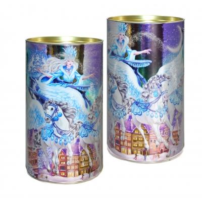 Подарочные картонные тубы «Снежная королева» 1000 гр, новогодняя упаковка