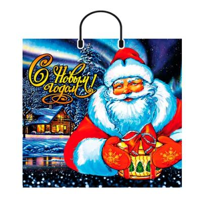 """Новогодний подарочный пакет """"Новогодний волшебник"""" 38х36 см, 90 мкм, пластиковые ручки, новогодняя упаковка"""