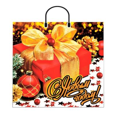 """Новогодний подарочный пакет """"Яркий подарок"""" 38х35 см, 90 мкм, новогодняя упаковка"""