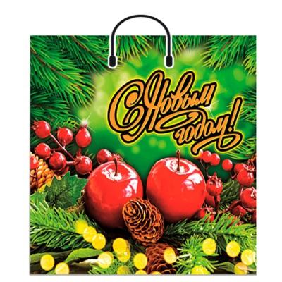 """Новогодний подарочный пакет """"Еловые шишки"""" 40х48 см, 100 мкм, пластиковые ручки, новогодняя упаковка"""