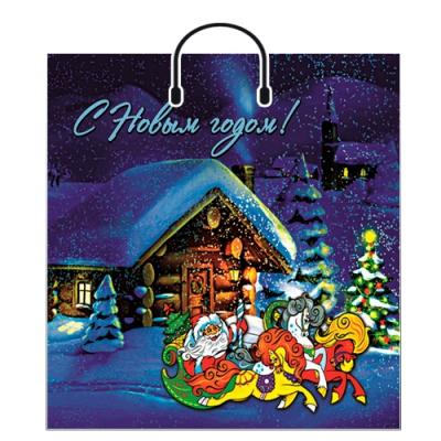 """Новогодний подарочный пакет """"Тройка"""" 40х48 см, 100 мкм, с пластиковыми ручками, новогодняя упаковка"""