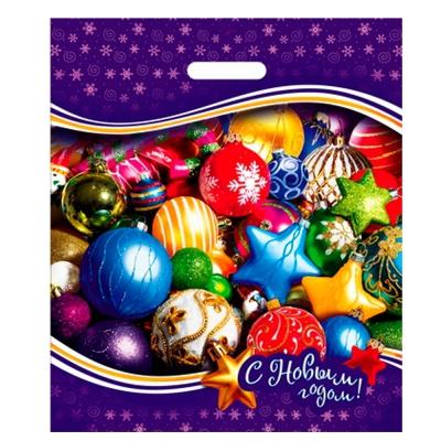 Подарочный пакет Новогодние игрушки 40х47, 45 мкм, ПВД, вырубные ручки