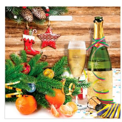 """Пакет новогодний """"Шампанское"""" 45х45 см, 70 мкм, вырубные ручки, новогодняя упаковка"""