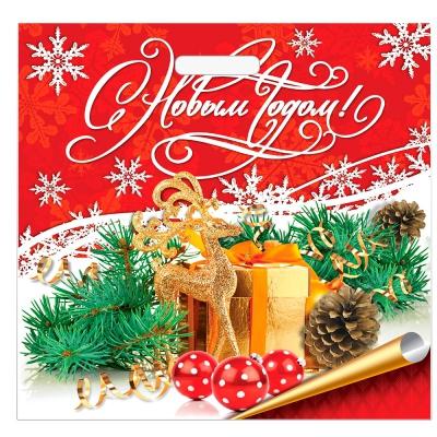 """Подарочный пакет """"Новогодняя сказка"""" 45х45 см, 70 мкм, с вырубными ручками"""