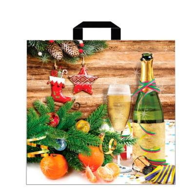 """Пакет новогодний """"Шампанское"""" 45х45 см, 70 мкм, новогодняя упаковка"""