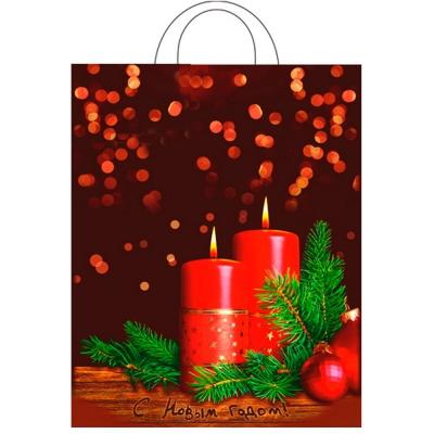 """Новогодний подарочный пакет """"Вечер"""" 28х35 см, 55 мкм, новогодняя упаковка"""